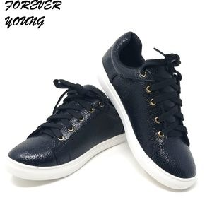 Women Laced Fashion Sneakers, SN-2814, Black